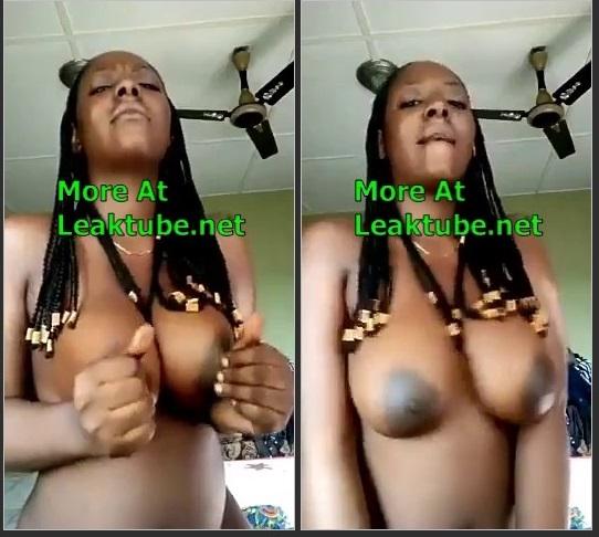 Nigeria Naughty Naija Babe Playing With Her Big Breast Leak